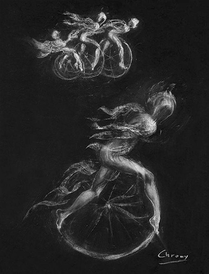 研究科林斯王 创作年代:2002 类型:素描 材料:粉笔黑纸 尺寸:70h×50cm