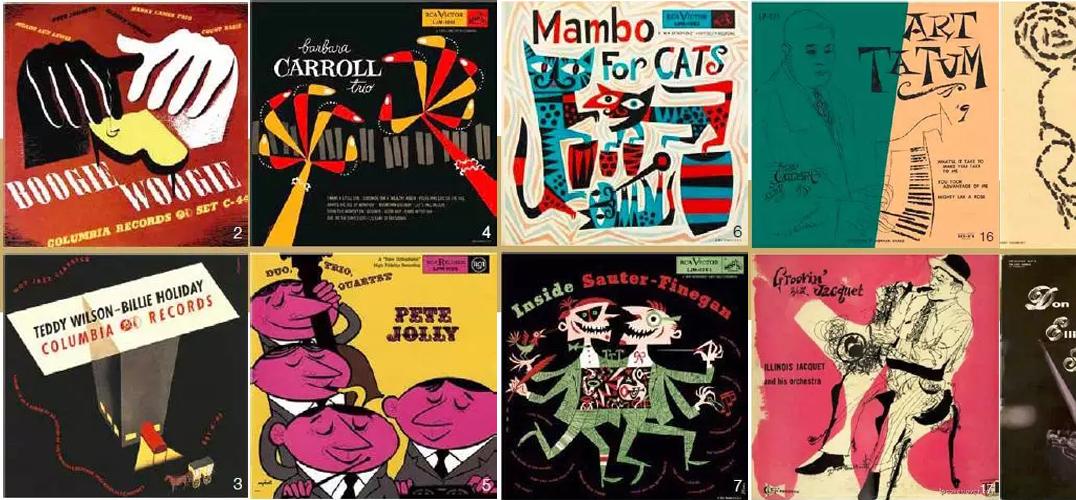 如果说 听古典音乐是心灵的修炼 那么听爵士乐就是一种氛围的感染 今天让我们在Shuffle的律动节奏中 和大家分享20 世纪50、60 年代 【美国爵士乐专辑封面设计】 一起来感受爵士乐带来的节奏之美  [ 源 起 ] 20 世纪50 年代和60 年代,现代爵士乐成为美国文化中被广泛认可的一部分。