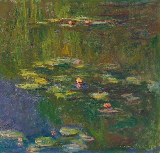 克劳德 • 莫内 睡莲池塘 布面 油画 39 3/8 x 40 1/2  英寸(100 x 103 厘米 。) 作于 1919 年