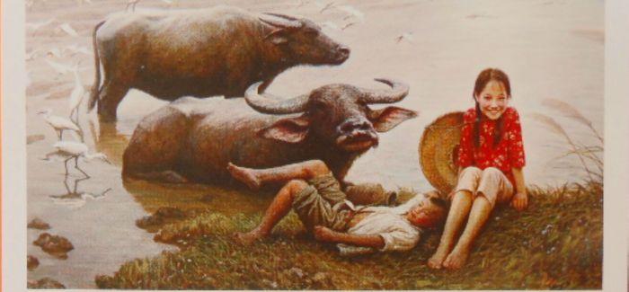 旅美画家李自健的姐弟亲情主题的生活油画欣赏