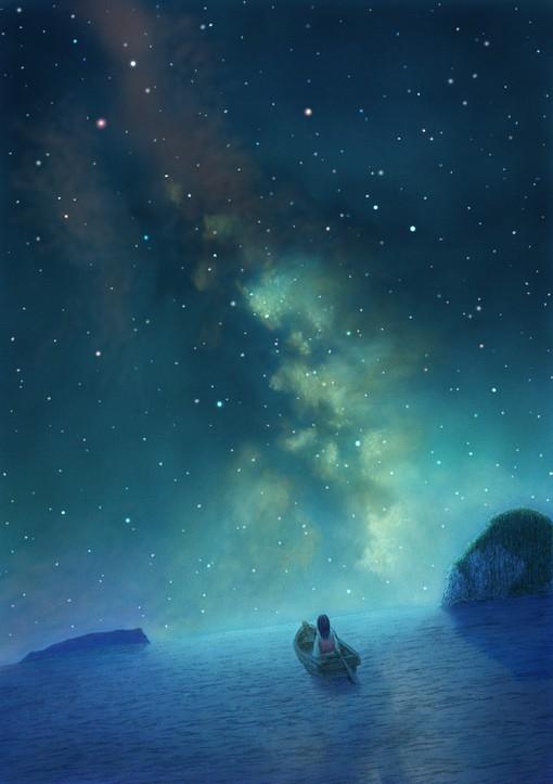 美奂星空星河的唯美二次元场景插画 美到你心里
