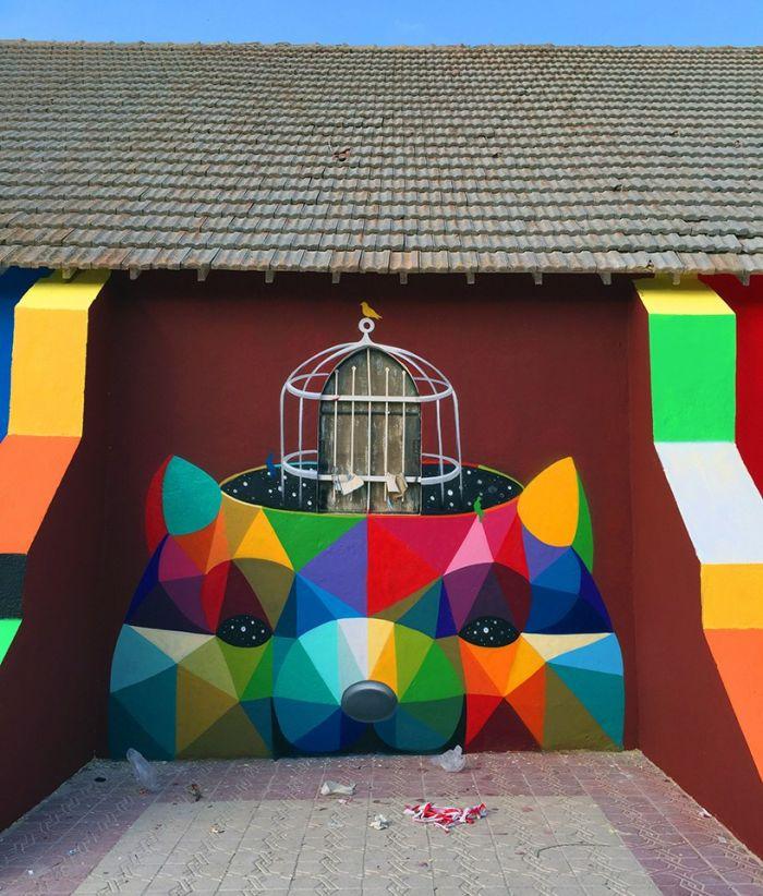 """艺术家Okuda San Miguelwang创作的巨型墙绘""""自由幻象"""""""