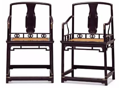 清前期  乌木高扶手南官帽椅成对  57.5 x 43.8 x 96 cm