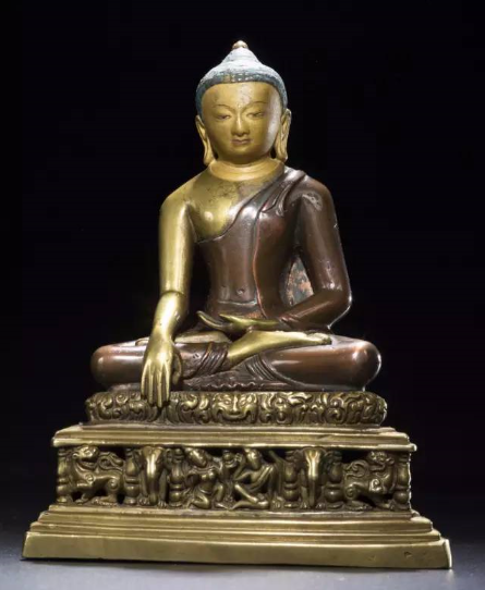 帕拉11世纪  至稀至珍双色铜合铸释迦牟尼成道像  高 14.3 cm
