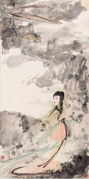 傅抱石(1904-1965) 山鬼  立轴 设色纸本  丙戌(1946年)作  134 × 67 cm