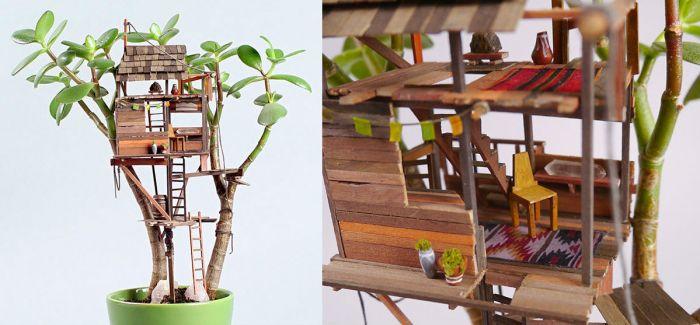 微缩树屋盆景Miniature Treehouse Sculptures