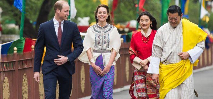 """凯特王妃与不丹王后""""双美""""相见:同穿不丹传统服饰"""