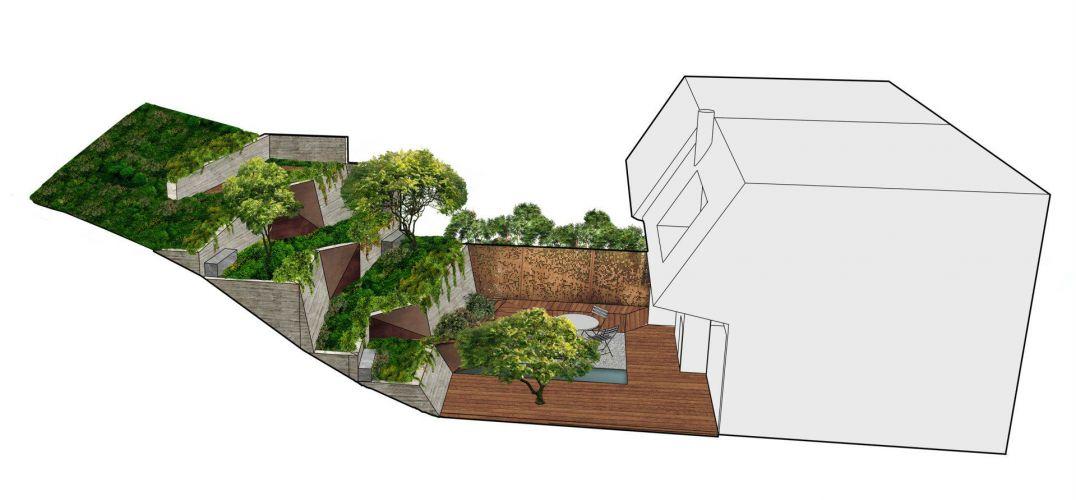 联排别墅后院被改造成空中花园图片