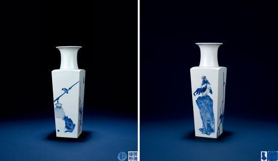 """LOT3030 王步 """"高歌大庆""""青花釉里红天圆地方瓶 成交价:1078万"""