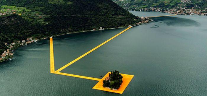 """克里斯托最后一件大型作品""""漂浮的码头""""出现在意大利伊塞奥湖"""