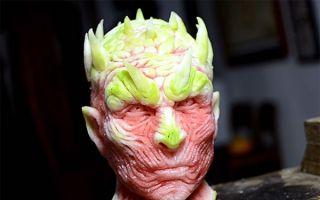 趣看|西瓜雕出逆天新造型 《权力的游戏》夜王头像纹理十足