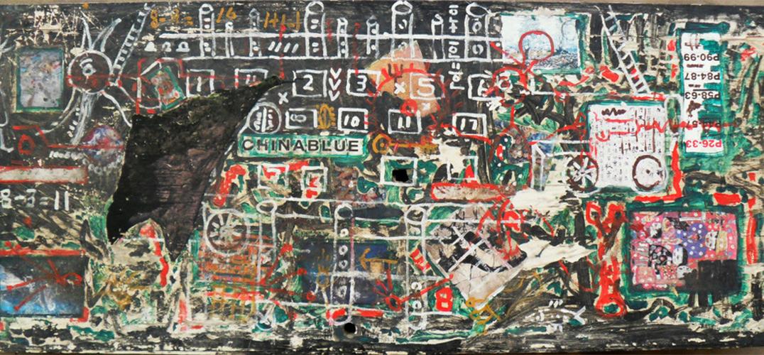 李忠东的作品类似拼贴画,用丙烯颜料画在各种各样的木板,铁皮上,然后