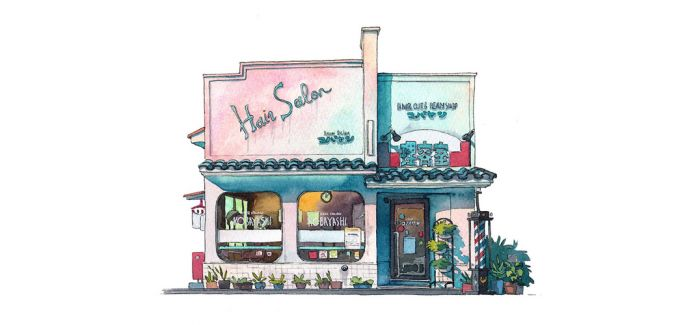 日本动画师Mateusz Urbanowicz用水彩描绘的东京街头
