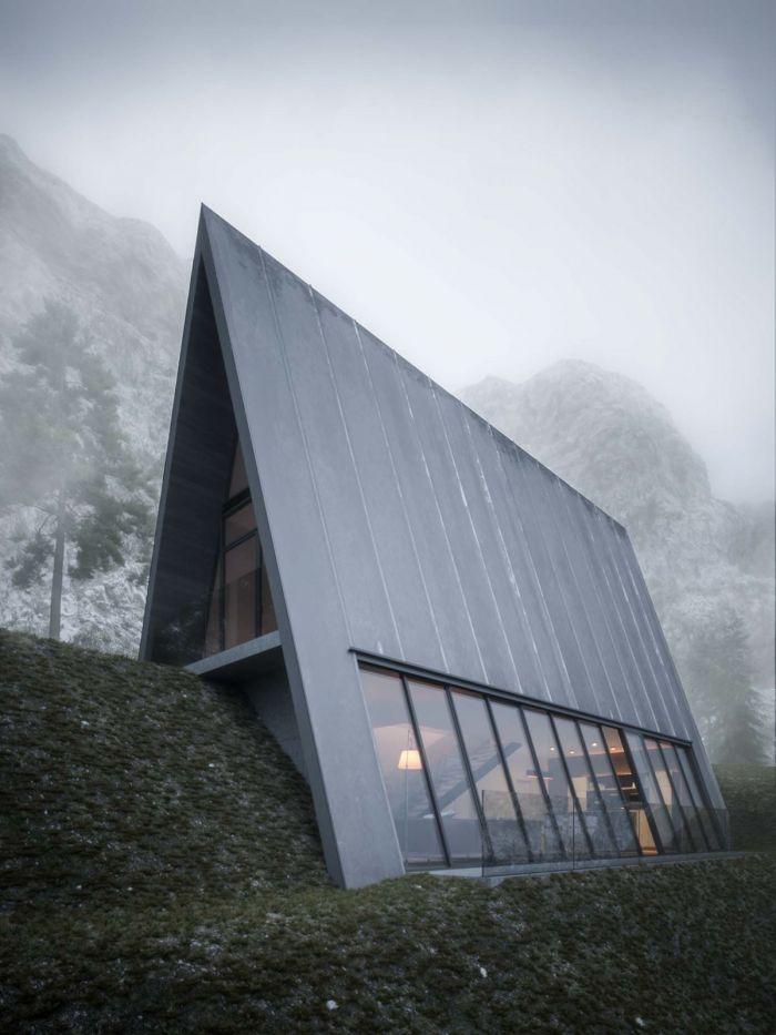 悬崖本身也是由设计师虚构而成,个性十足的三角形结构分成两层,错落有