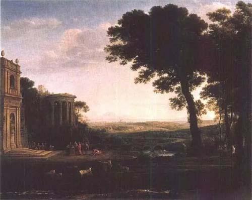 克劳德·洛兰向阿波罗献祭场面的风景原图