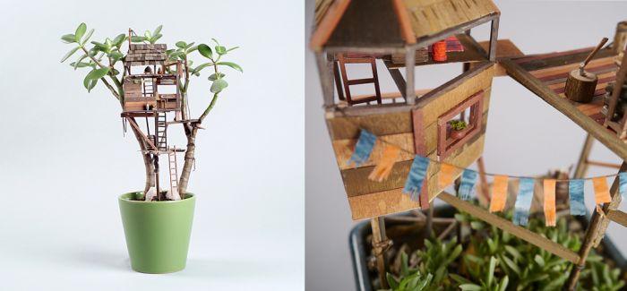 在小小的植物盆栽上  艺术家搭建起一座座可爱的『迷你树屋』