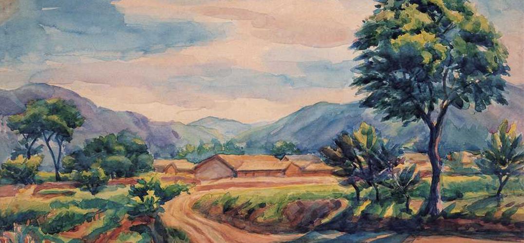 贵州新疆苗寨手绘水彩