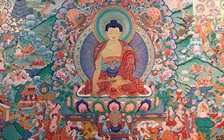 西藏扎什伦布寺举行巨幅唐卡展佛像活动
