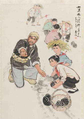 单应桂于1973年创作的《如果敌人从那边来》。 山东美术馆提供 摄