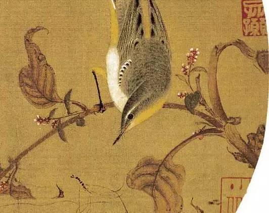 《红寥水禽图》,宋,徐崇矩,纨扇,绢本设色,纵25.1厘米,横26.8厘米