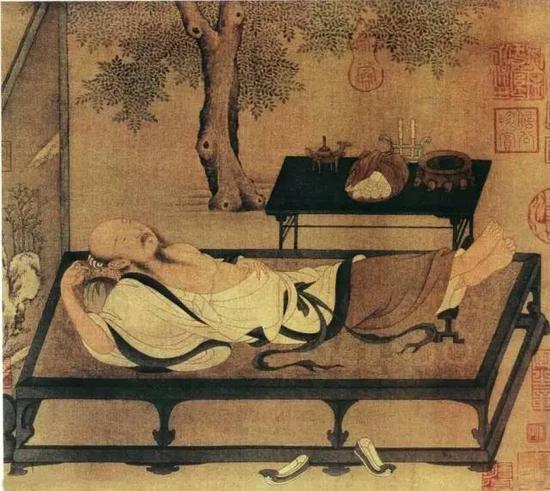 《槐荫消夏图》 宋 佚名 小品册页,纸本设色,北京故宫博物院藏