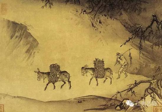 《晓雪山行图》 宋 马远 绢本水墨 纵27.6厘米 横42.9厘米