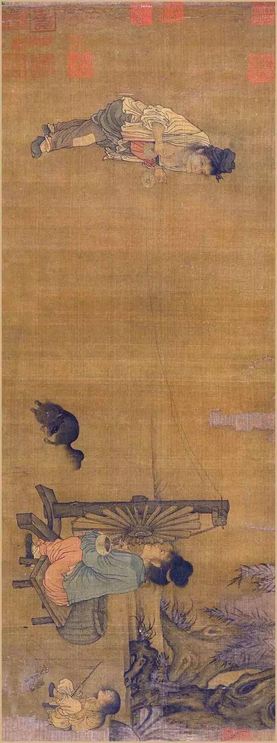 《纺车图》宋 王居正 绢本设色 纵26.1厘米 横69.2厘米北京故宫博物院藏