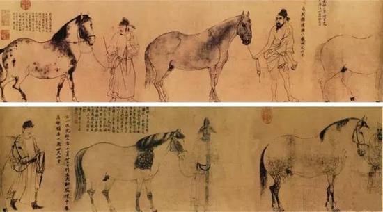 《五马图》宋 李公麟 纸本墨笔 纵29.5厘米 横225厘米日本东京末次三次私人收藏