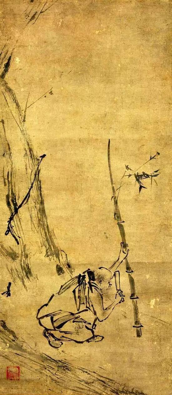 《六祖截竹图》 宋 梁揩,纸本,纵73厘米,横31.8厘米藏日本东京国立博物馆