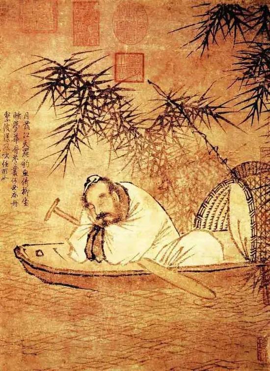 《秋江渔隐图》 宋 马远 绢本墨笔 纵37厘米 横29厘米台北故宫博物院藏