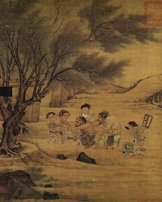 《村医图》李唐 绢本设色 纵68.8厘米 横58.7厘米 台北故宫博物院藏