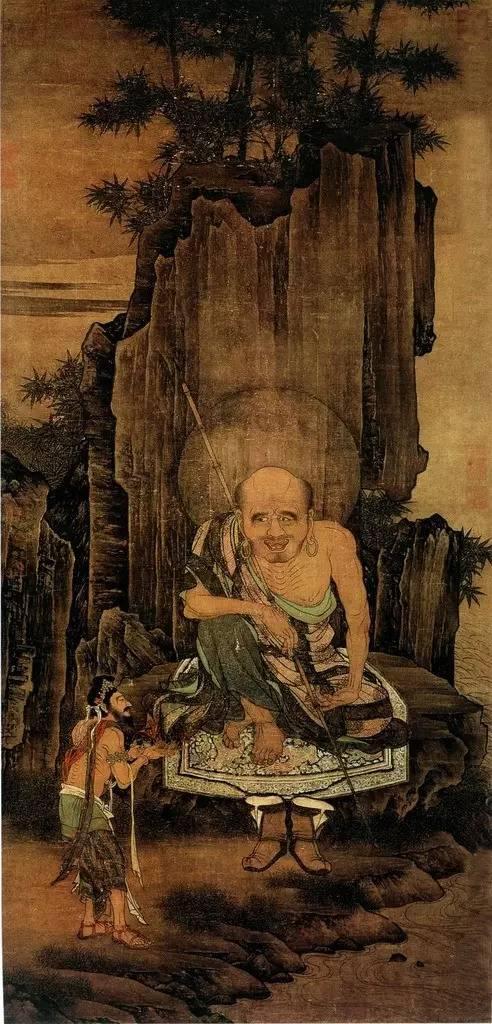 《罗汉图》宋 刘松年 绢本设色 纵117.2厘米 横56厘米北京故宫博物院藏