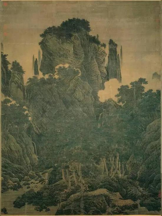 《万壑松风图》宋 李唐 绢本双拼 188.7cm×139.8cm