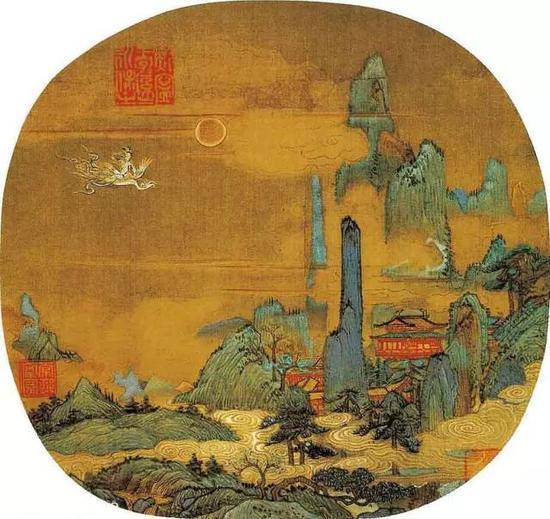 《仙山楼阁图》宋 佚名 绢本设色 纵26厘米 横27厘米辽宁省博物馆藏