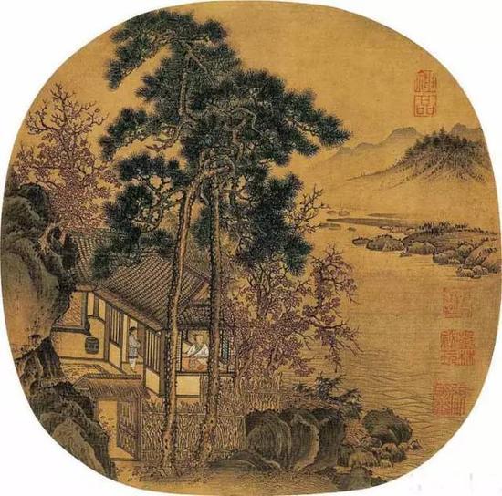 《秋窗读书图》宋 刘松年 纨扇 绢本设色