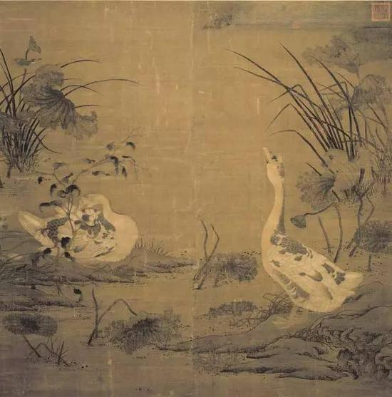 《秋塘双雁图》 北宋 佚名 绢本设色,170×167cm,台北故宫藏