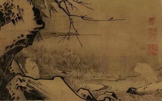 《雪滩双鹭图》宋 马远 绢本浅设色 纵60厘米 横38厘米