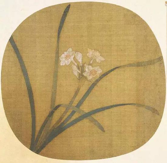 《水仙图页》 宋,纨扇页,绢本设色,24.6cm×26cm