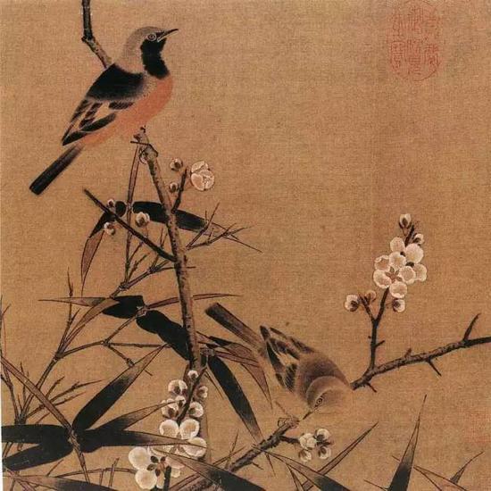 《梅竹双雀图页》 宋,绢本设色,26c×26.5cm