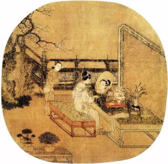 《妆靓仕女图》宋 苏汉臣 团扇 绢本设色纵25.1厘米 横26.7厘米 美国波士顿艺术博物馆藏