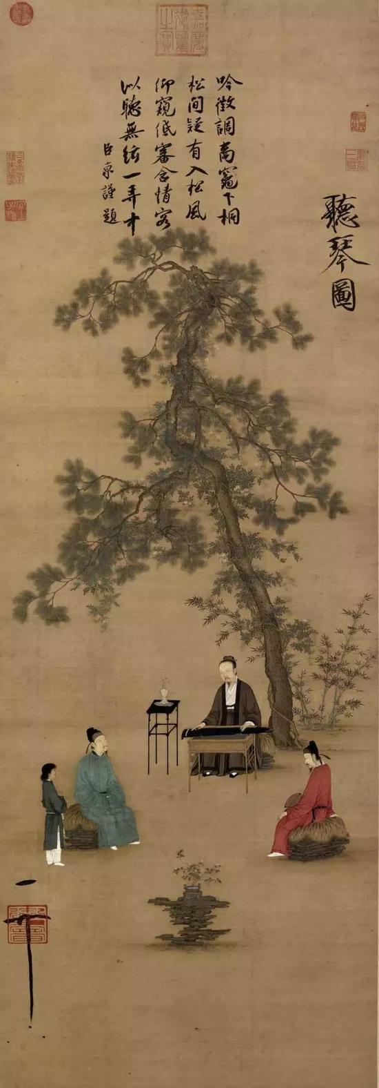 《听琴图》宋 赵佶 绢本设色 纵147.2厘米 横51.3厘米北京故宫博物院藏