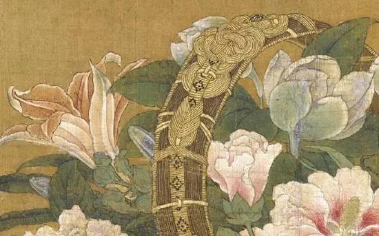 《花篮图页》 南宋 李嵩,绢本设色,19.1cm×26.5cm