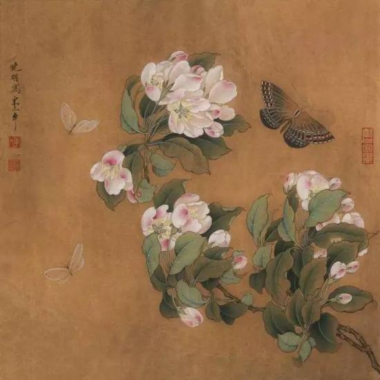 《海棠蛱蝶图页》 宋 绢本设色 纵25cm,横24.5cm
