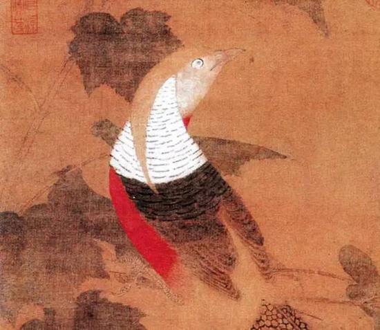 《芙蓉锦鸡图》,绢本设色,纵81.5厘米,横53.6厘米, 现藏北京故宫博物院