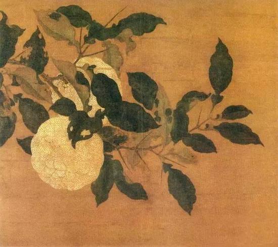 《香实垂金图》 宋 佚名 设色绢本 纵24.3厘米 横27.5厘米台北故宫博物院藏