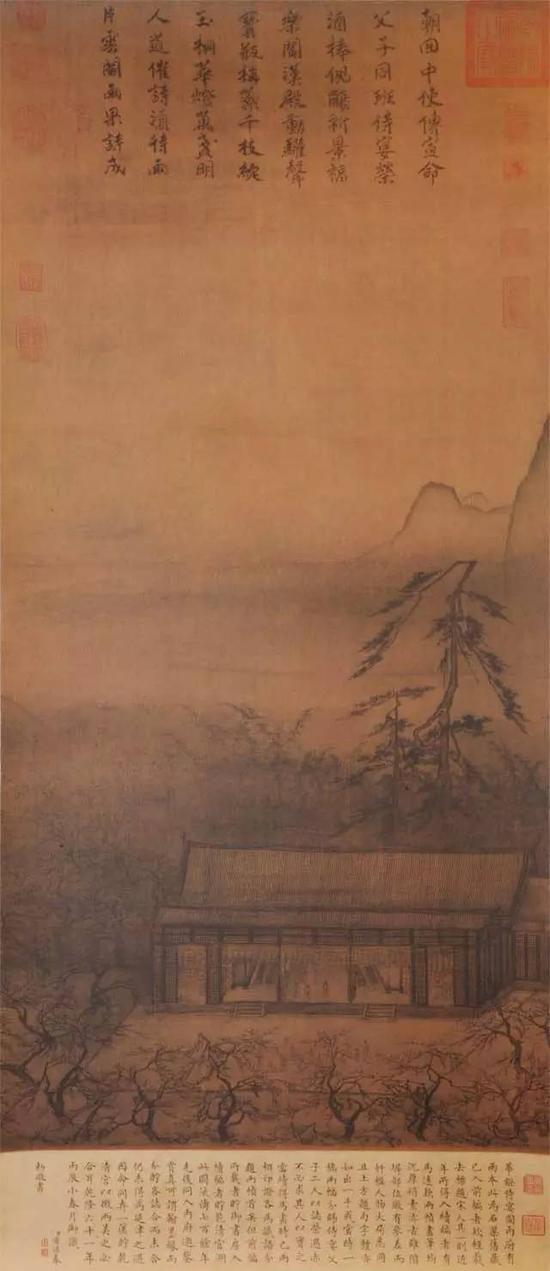 《华灯侍宴图》宋代 马远 绢本浅设色 125.6cm×46.7cm台北故宫博物院藏