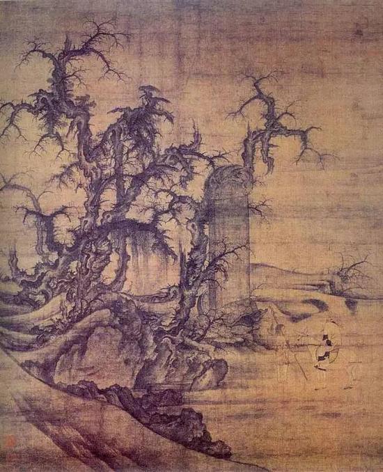 《读碑窠石图》 北宋 李成 绢本水墨 126.3cm×104.9日本大阪市立美术馆藏