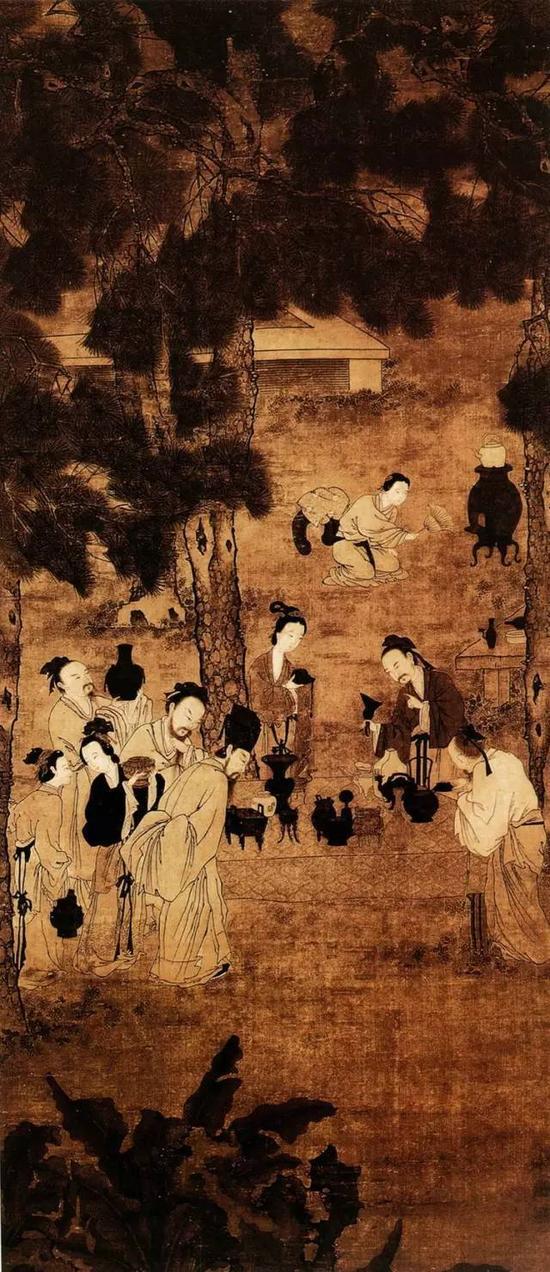 《博古图》宋 刘松年 绢本淡设色 128.3cm×56.6cm台北故宫博物院藏