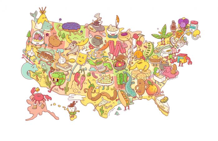 美国各州美食节地图绘图:brosmind