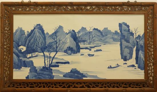 20世纪60年代 国营老瓷厂定烧康熙青花山水大瓷板 131.5x76.5cm